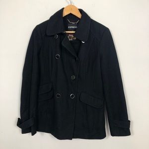 EXPRESS Black Button Down Wool Pea Coat